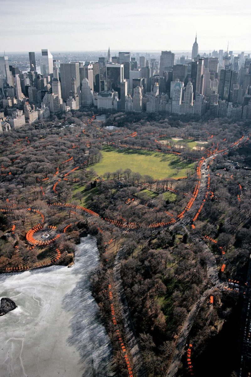Christo and Jeanne-Claude - The Gates, 7,503 gates, free-hanging saffron colored fabric panels, Central Park, New York City, 1979-2005