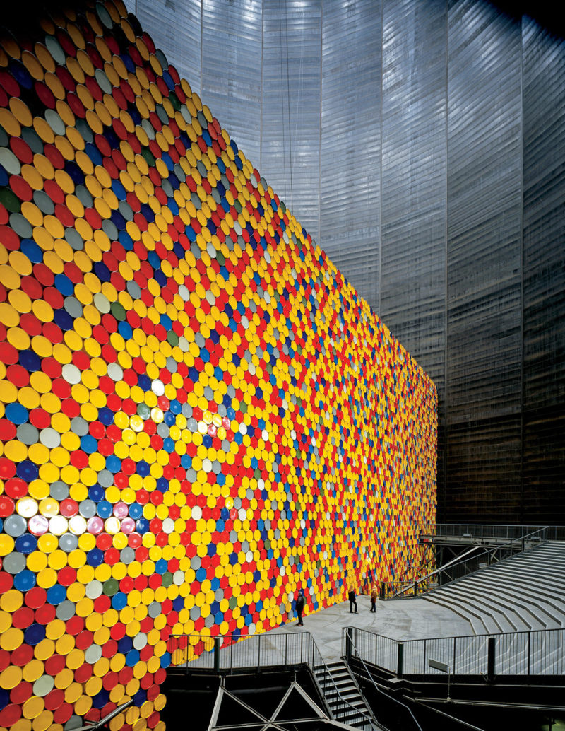 Christo and Jeanne-Claude - The Wall, 1998, 13,000 oil barrels, Gasometer Oberhausen, Germany, 1998-1999