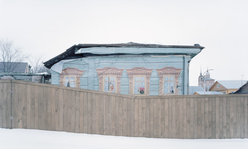 Gregor Sailer - The Potemkin Village - The town of Suzdal, Russia, camouflaged dilapidated buildings ahead of a 2013 visit by Vladimir Putin