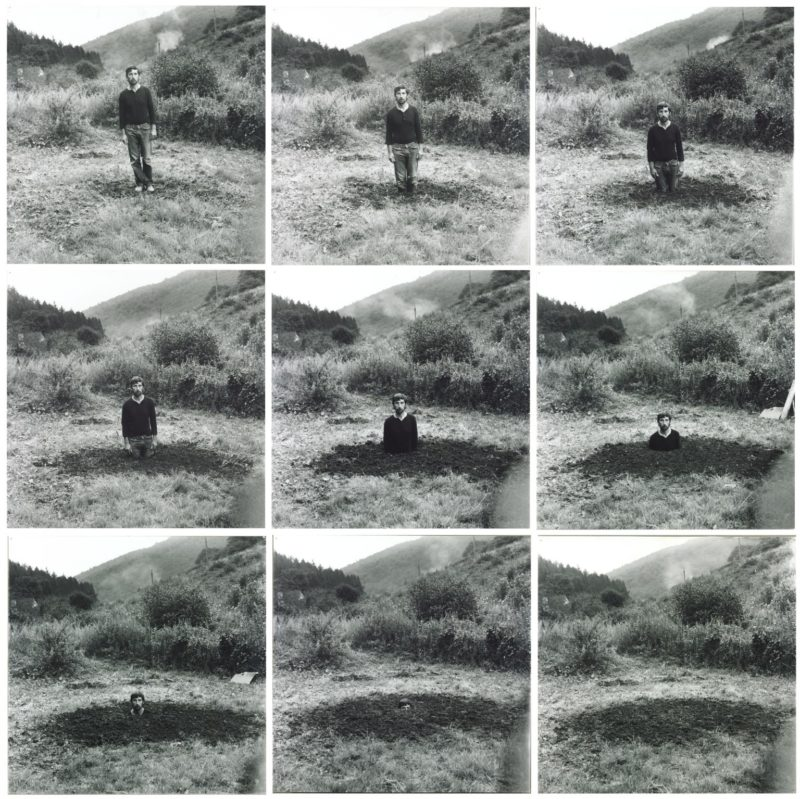 Keith Arnatt - Self-Burial (Television Interference Project), 1969, 9 photographs, gelatin silver prints on paper on board, each image 467 x 467 mm
