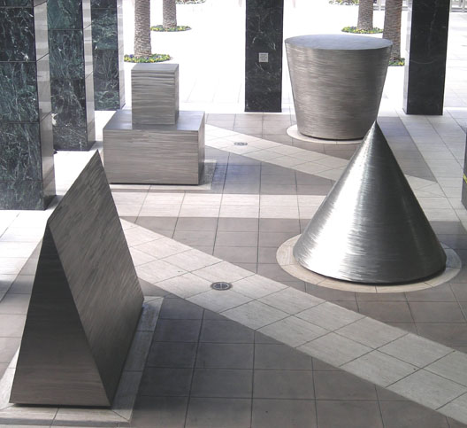 Michael Heizer - North, East, South, West, 1981, burnished stainless steel, Citigroup Center, 444 S. Flower Street, Los Angeles