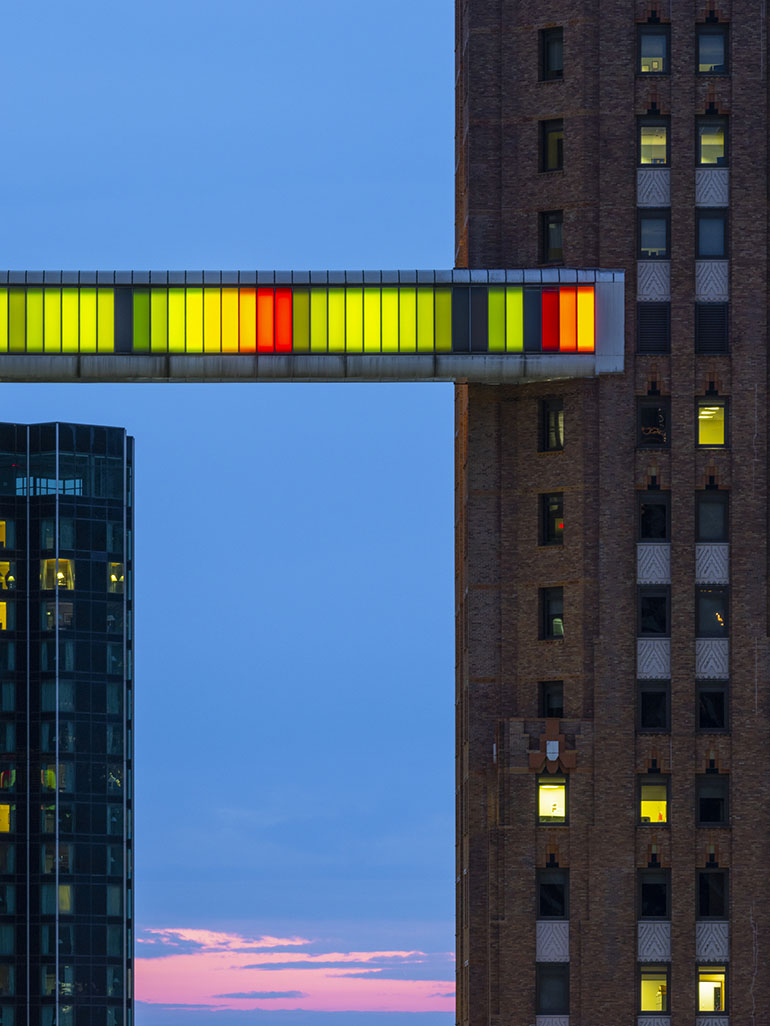This colorful Skybridge transforms Detroit's skyline - Phillip K. Smith