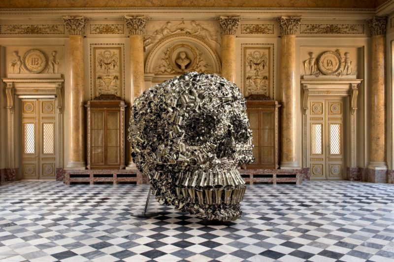 Subodh Gupta - Very Hungry God, 2006, hundreds of stainless steel containers, 390 x 320 x 400 cm, installation view, Monnaie de Paris