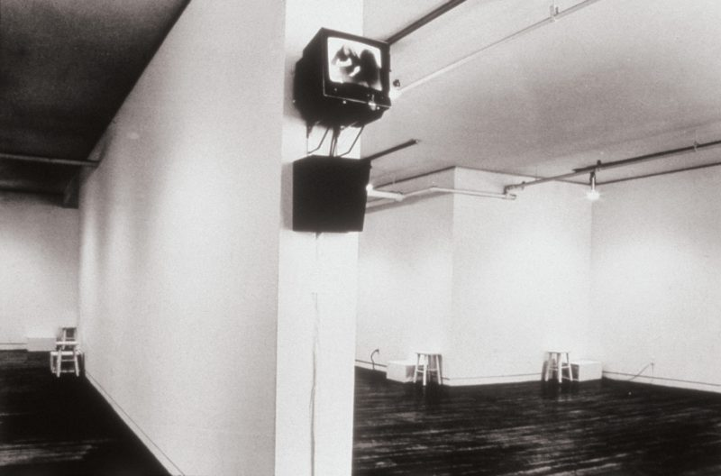 Vito Acconci - Airtime, 1973, ,edia installation, single-channel video, b:w, 36 min 49 s and diverse materials dimensions variables