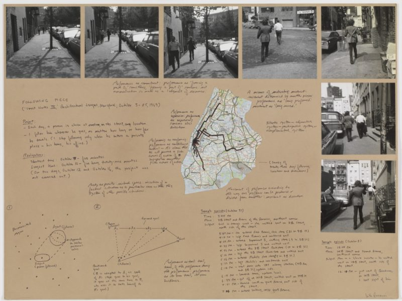 Vito Acconci - Following Piece 1969, gelatin silver prints, felt-tip pen, and map on board, 76 x 102 cm (29 15/16 x 40 3/16 in)