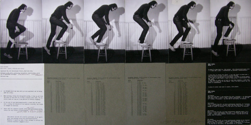 Vito Acconci - Step Piece, 1970, black and white photographs, typewritten text on paper, mounted on board, 101.6 x 49.5 cm