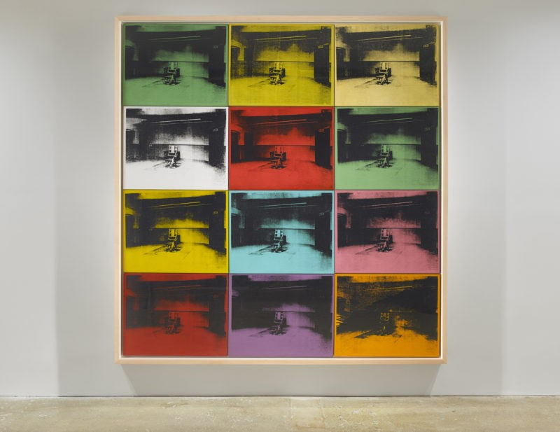 Andy Warhol – Twelve Electric Chairs, 1964, acrylic and silkscreen ink on canvas, 92 x 88 1:3 in, installation view, Venus Over Manhattan