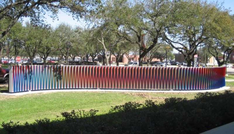 Carlos Cruz-Diez - Double Physichromie, 2009, painted aluminum and steel, 80.5 x 112 x 648 inches