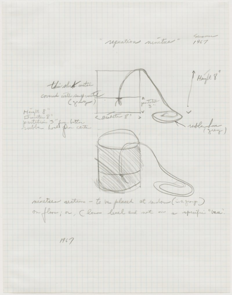Eva Hesse - Repetition Nineteen, 1967, Pencil on graph paper, 10 7/8 x 8 1/2 (27.9 x 21.6 cm)