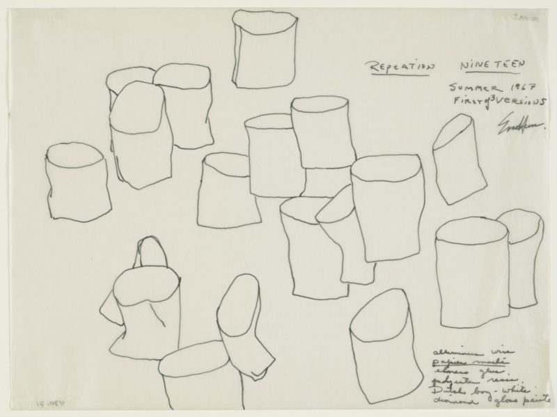 Eva Hesse - Repetition Nineteen, First of 3 versions Summer 1967, Pen and ink on transparentized paper, 8 7/8 x 11 7/8 (22.5 x 30.3 cm)