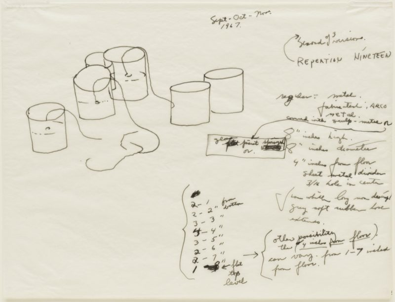 Eva Hesse - Repetition Nineteen, Second of 3 versions 1967, Pen and ink on transparentized paper, 8 7/8 x 11 7/8 (22.5 x 30.3 cm)
