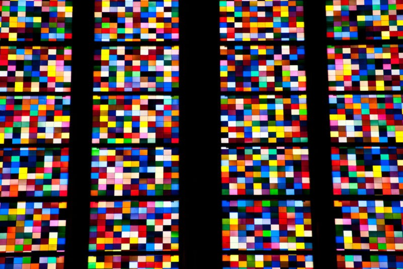 Gerhard Richter – Kölner Domfenster (Cologne Cathedral Window), 2007, 11,000 hand blown glass panels, 72 colors and shades, 9.6 x 9.6 cm each, total size 2300 x 900 cm (106 sqm)