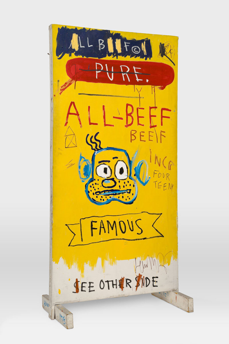Jean-Michel Basquiat - All Beef, 1983, Oil, acrylic, oilstick and nail on canvas mounted on wood, 184.8 x 99.4 x 54.6 cm (72 3/4 x 39 1/8 x 21 1/2 in)