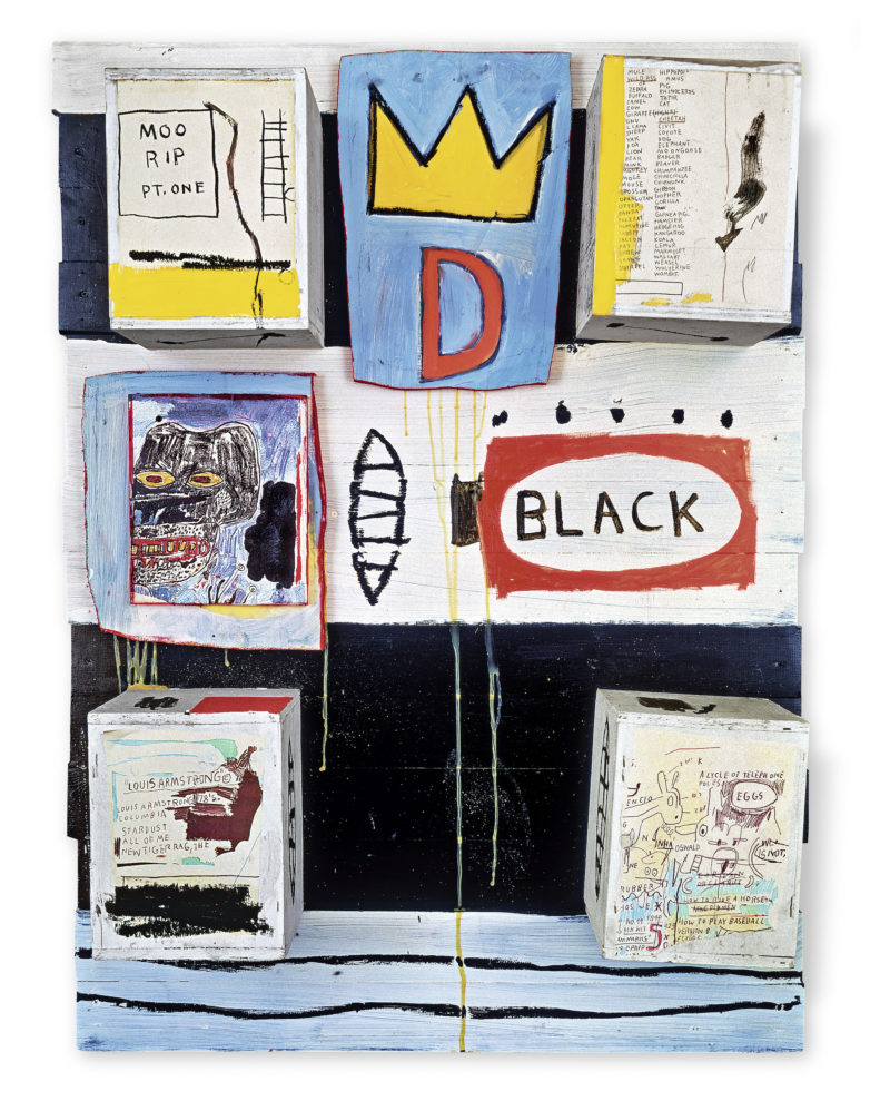Jean-Michel Basquiat - Black, 1986 Acrylic, oilstick, photocopy collage, and wood collage on panel, 127 x 92 x 21.5 cm (50 x 36 1/4 x 8 1/2 in)