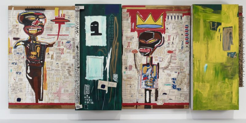 Jean-Michel Basquiat - Grillo, 1984, oil, acrylic, photocopy, oilstick, and nails on wood, 243.8 x 537.2 x 47 cm , Fondation Louis Vuitton : Marc Domage
