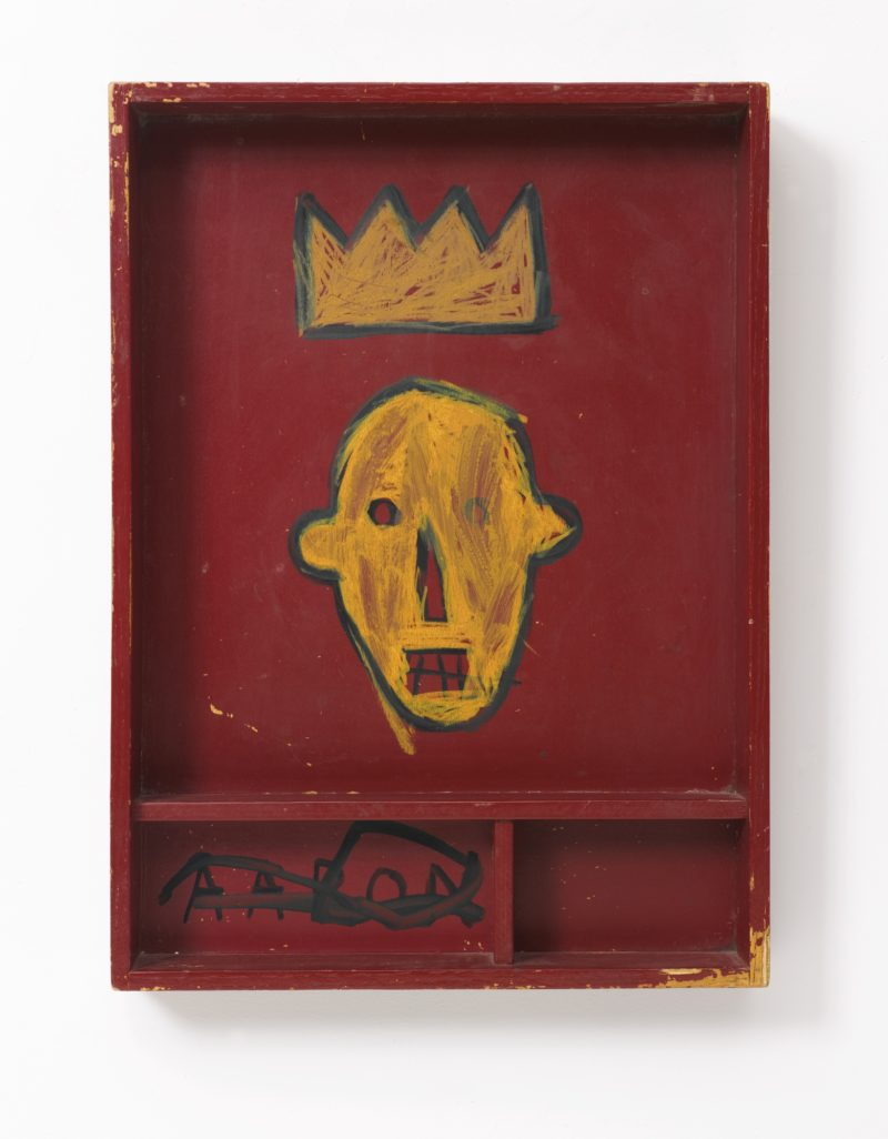 Jean-Michel Basquiat - Untitled, 1981, acrylic and marker on wood, 55.9 x 40.6 x 7.9 cm (22 x 16 x 3 1/8 in), sothebys.com