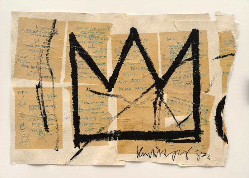 Jean-Michel Basquiat - Untitled (Crown), 1982, Acrylic, ink, and paper collage on paper, 50.8 x 73.66 cm (20 x 29 in), photo Mark-Woods.com
