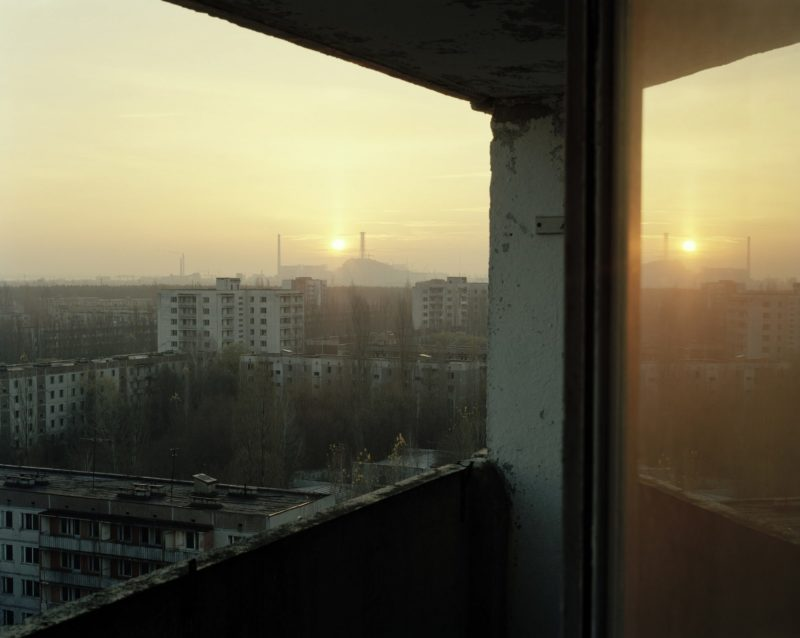 Nadav Kander - View from Central Square Apt to Reactors 3 and 4, Pripyat, 2004