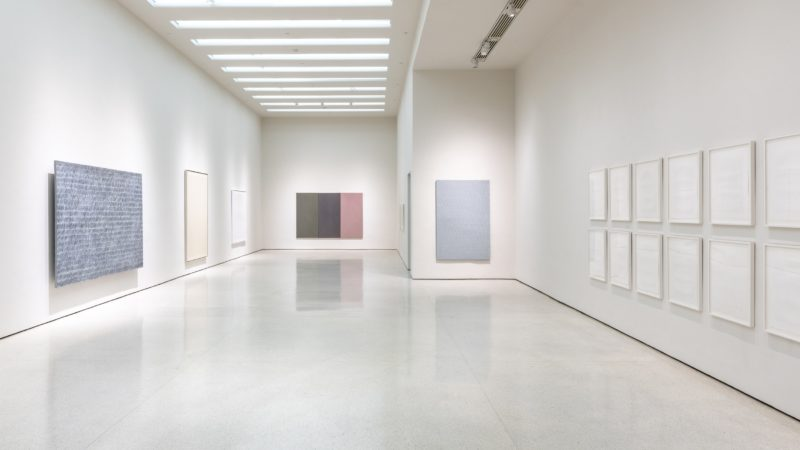 Park Seo-Bo's work installed at Marking Time - Process in Minimal Abstraction, Solomon R. Guggenheim Museum, December 18, 2019 - August 2, 2020,