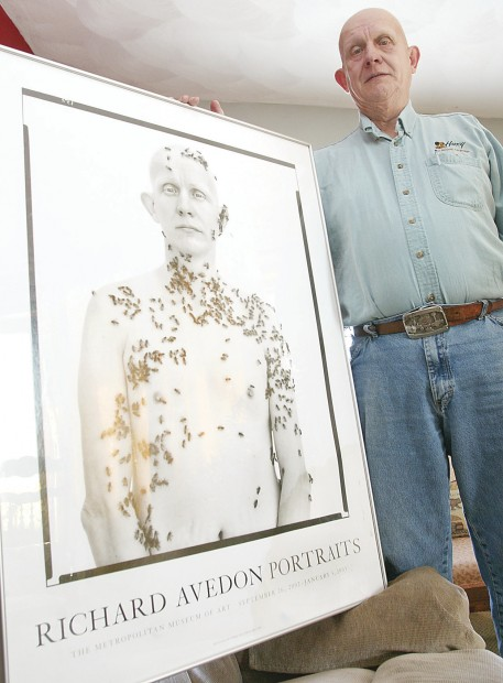 Ron Fischer of rural Orion, Ill. together with Richard Avedon's shot of him