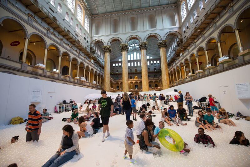 Snarkitecture - The Beach, installation view, National Building Museum, Washington, DC, 2015.