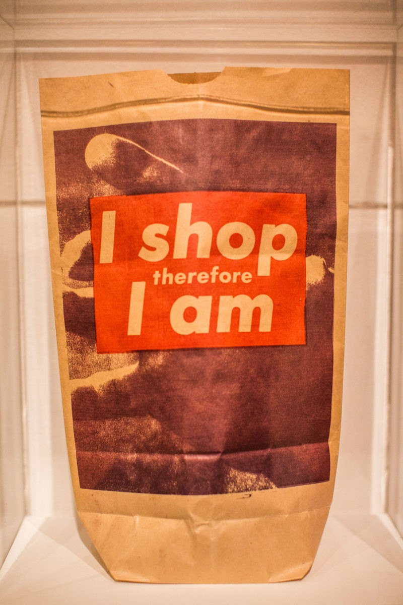 Barbara Kruger – I shop therefore I am, 1990, photolithograph on paper shopping bag, 43.9 x 27.3 x 10.7 cm (17 5/16 x 10 3/4 x 4 3/16), edition of 9000