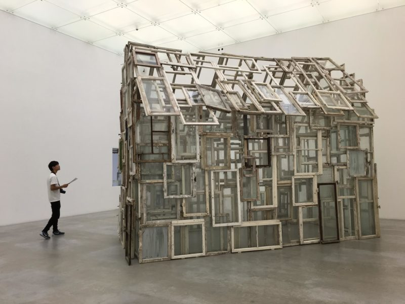 Chiharu Shiota - A Room of Memory, 2016, old wooden windows, group exhibition Collection 2 – Diary, 21st Century Museum of Contemporary Art, Kanazawa, Japan
