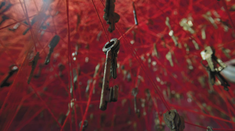 Chiharu Shiota - The key in the hand, 2015, old keys, Venician boats, red wool, Japan Pavilion, 56th Venice Biennale, Venice, Italy