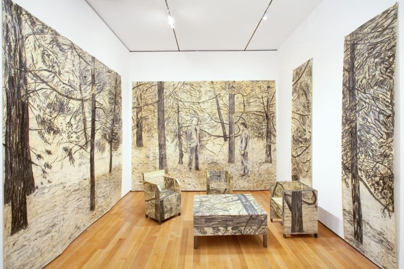 Gilbert & George - The Tuileries, 1974, Charcoal on paper, and charcoal on paper mounted on wood, eight parts, overall dimensions variable, installation view, The Museum of Modern Art, New York