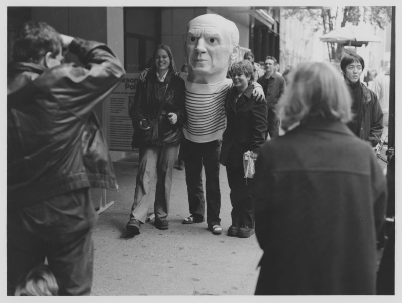 Maurizio Cattelan dressed as Pablo Picasso greeting visitors entering the MoMA, New York, November 6-December 4, 1998