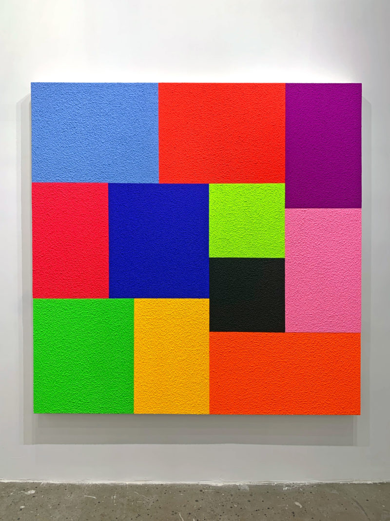 Peter Halley - Close, 2019, acrylic, fluorescent acrylic, and Roll-A-Tex on canvas, 198.1 x 203.2 cm (78 x 80 in), Almine Rech