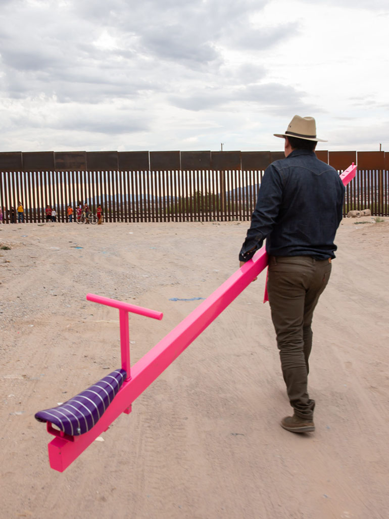 Why were there seesaws at the border?