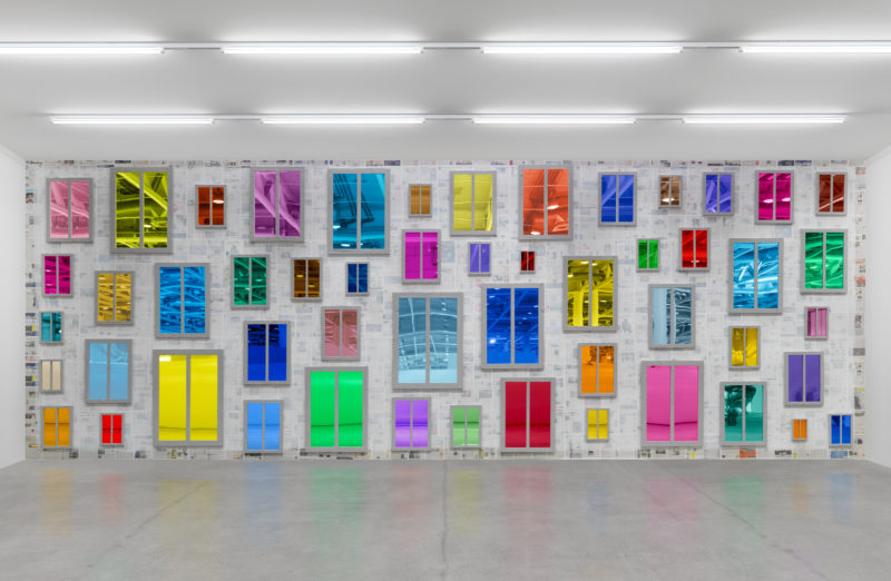 Ugo Rondinone - <em>Clockwork for Oracles II</em>, 2008, 52 mirrors, color plastic gel, wood, paint dimensions variable, installation view, Broad Art Museum, Lansing, 2017