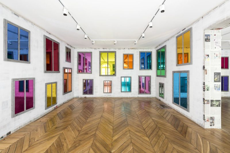 Ugo Rondinone - Clockwork for Oracles II, 2008, 52 mirrors, color plastic gel, wood, paint dimensions variable, installation view, Phillips, Paris