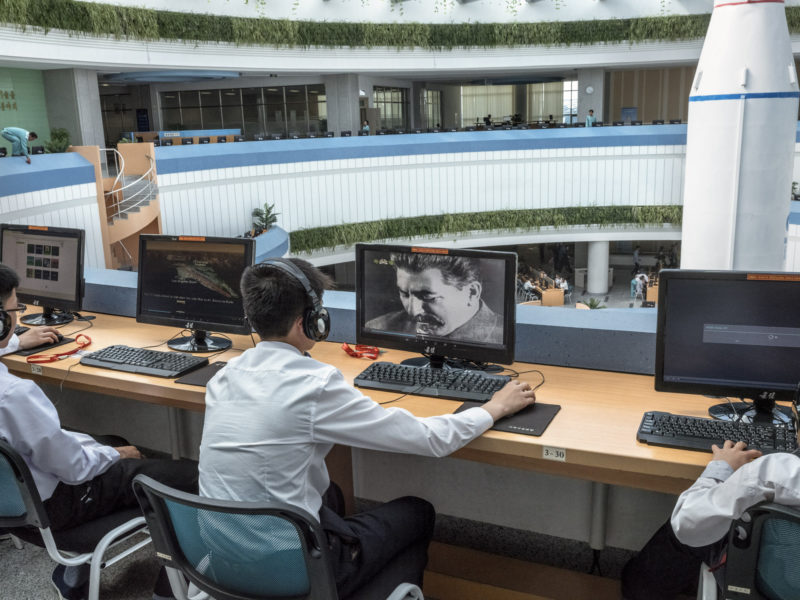 Carl De Keyzer - A student watches a video about Joseph Stalin at the Science and Technology Center, Pyongyang. 26 May 2017 3.00 PM