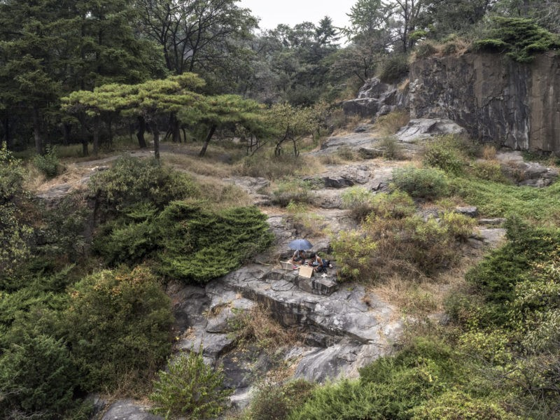 Carl De Keyzer - Art students paint landscapes in Moran Hill Park, Pyongyang. Moran Hill — the location of Pyongyang's inner castle — is the home of numerous historical relics and features prominently in Korean arts and literature through the ages. 23 September 2015 2:00 PM