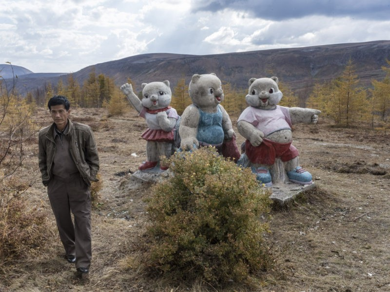Carl De Keyzer - Mt. Paektu, Ryanggang Province. Forest friends point the way through the wilderness on the flanks of the mountain. Paektu is the source of the Amnok (Yalu) and Tumen River, which today form the land border between Korea and China. 18 September 2015 3:00 PM