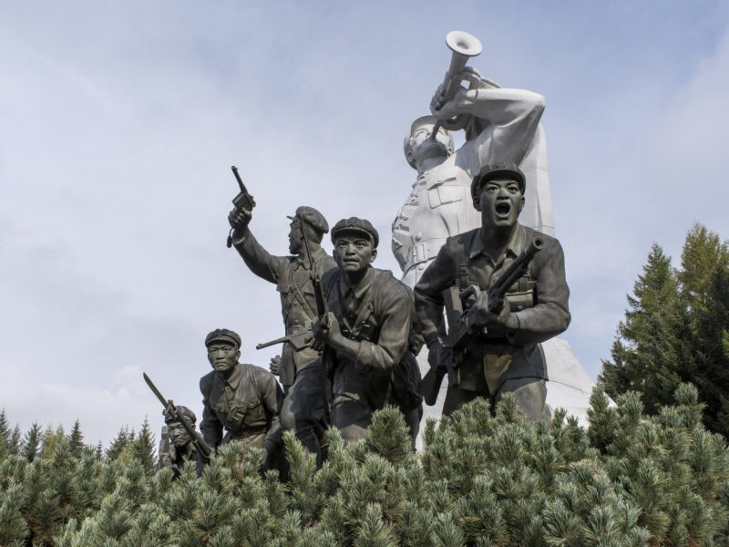 Carl De Keyzer - Samjiyon Grand Monument. Ryanggang Province. Statues of Korean revolutionary fighters in the 'Anti-Japanese Armed Struggle'. From 1910 to 1945, Korea was a colony of the Japanese Empire. Those who took up arms against Japanese rule are regarded as heroes in the DPRK. 19 September 2015 8:00 AM