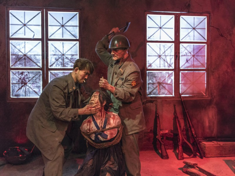 Carl De Keyzer - Sinchon US War Atrocities Museum. An artist's depiction of alleged war crimes during the Korean War. The diorama depicts the American soldiers driving a nail into a Korean woman's head, Sinchon US War Atrocities Museum. 3 November 2015 2:00 PM