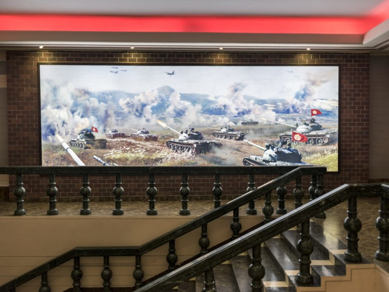 Carl De Keyzer - Sinchon US War Atrocities Museum. An image of Korean People's Army tanks conducting war exercises. Displays of military might are common in public media. 3 November 2015 2:00 PM