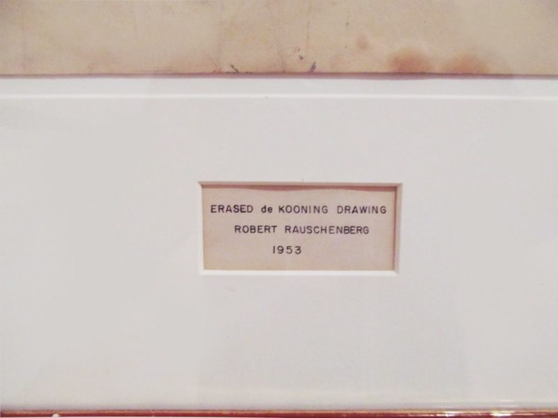 Detail of Robert Rauschenberg's Erased de Kooning Drawing, 1953, showing the inscription made by Jasper Johns