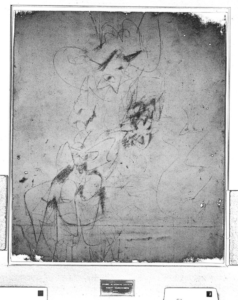 Digitally enhanced infrared scan of Robert Rauschenberg's Erased de Kooning Drawing, 1953, showing traces of the original drawing by Willem de Kooning. Visible light scan by Ben Blackwell, 2010