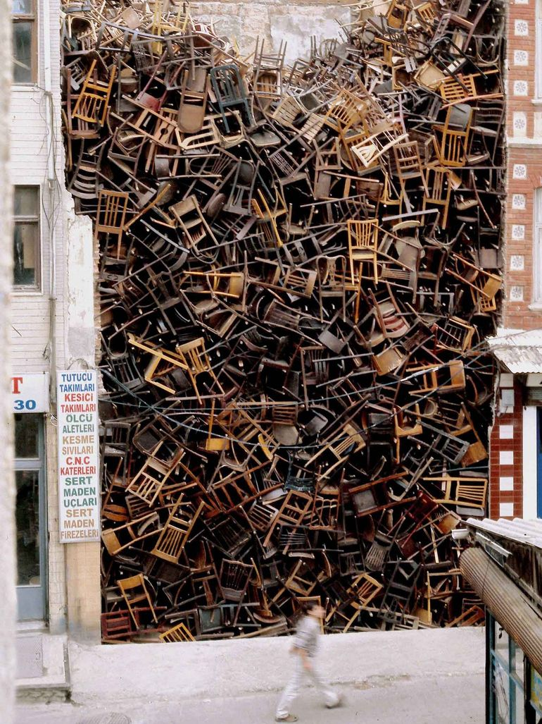 This was Doris Salcedo's impressive chair installation
