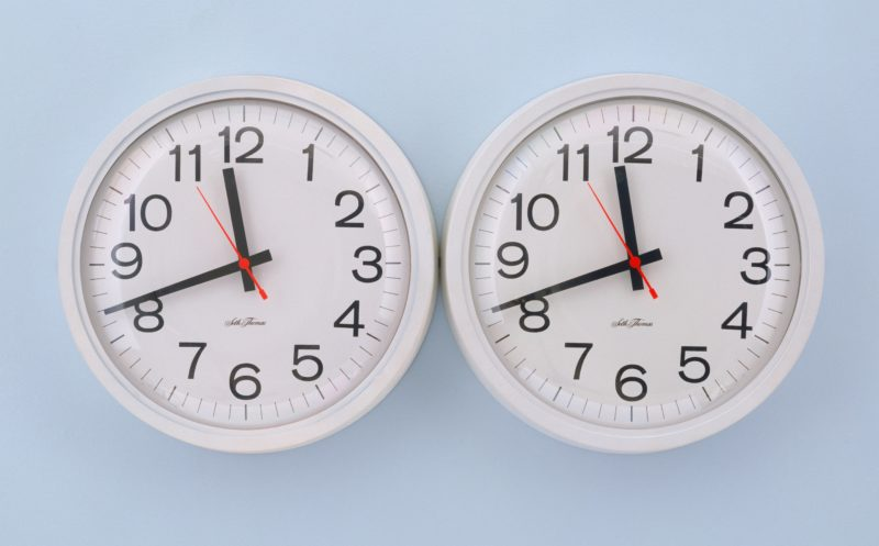 Felix Gonzalez-Torres - Untitled (Perfect Lovers), 1991, clocks, paint on wall, overall 35.6 x 71.2 x 7 cm