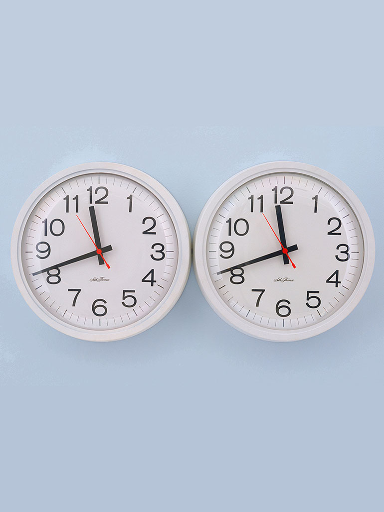 Felix Gonzalez-Torres - Untitled (Perfect Lovers), 1991, clocks, paint on wall, overall 35.6 x 71.2 x 7 cm feat