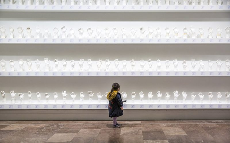 Htein Lin - A Show of Hands, 2013–present, surgical plaster, dimensions variable, installation view, Albright-Knox Art Gallery, February 16–April 28, 2019