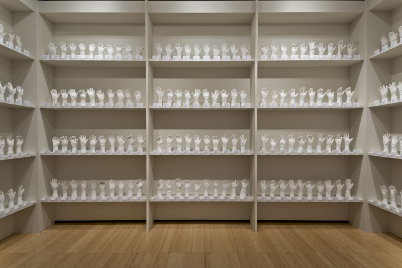 Htein Lin - A Show of Hands, 2013–present, surgical plaster, dimensions variable, installation view, Asia Society Museum, New York, 2017-2018