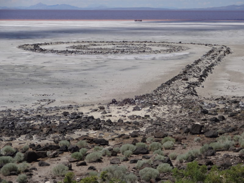 Robert Smithson - Spiral Jetty, 1970, Rozel Point, Great Salt Lake, Utah, 4,6 m x 460 m if unwound (15 x 1,500 if unwound foot) black basalt rock, salt crystals, earth, water