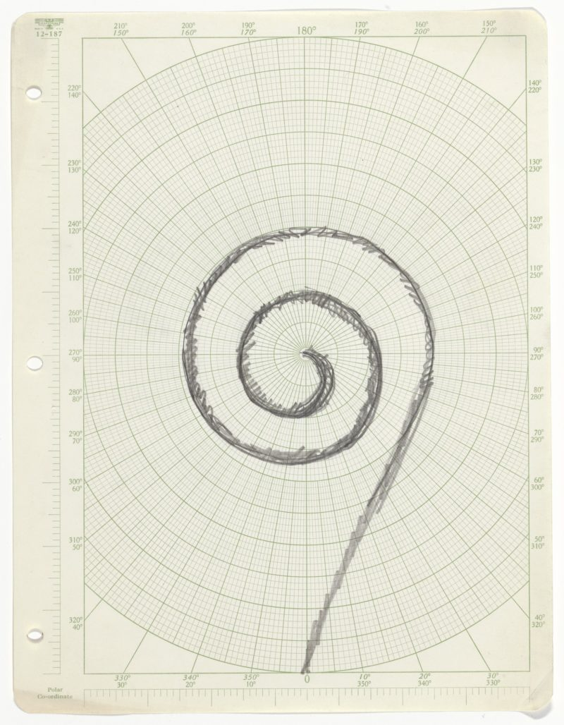 Robert Smithson - Untitled (Three Spiral Jetty Drawings), ca. 1970, pencil on three sheets of graph paper, 27.9 x 21.6 cm (11 x 8 1/2 in)