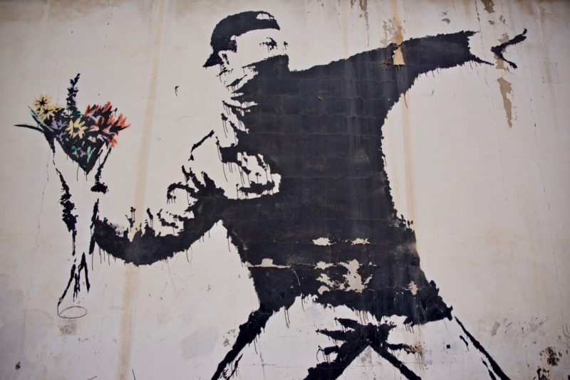 Banksy – Love Is In The Air, Flower Thrower, 2005, Ash Salon Street, Bethlehem, West Bank